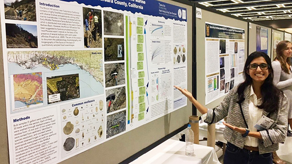 El Camino College geology major Javaria Aziz isn't afraid to get her hands dirty when digging into her research work.