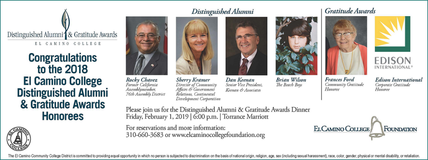 El Camino College will honor four exceptional alumni at the 2018 Distinguished Alumni & Gratitude Awards reception and dinner scheduled for Feb. 1, 2019.