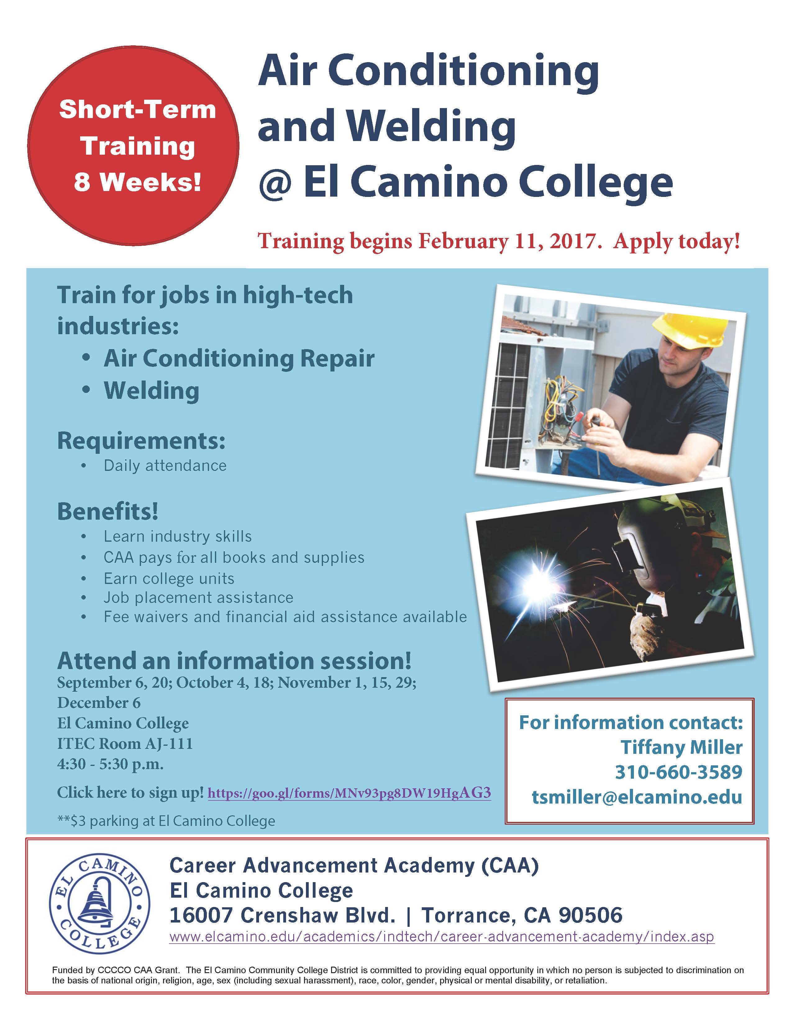 Welding requirements for tool machine technology subjects in el camino college
