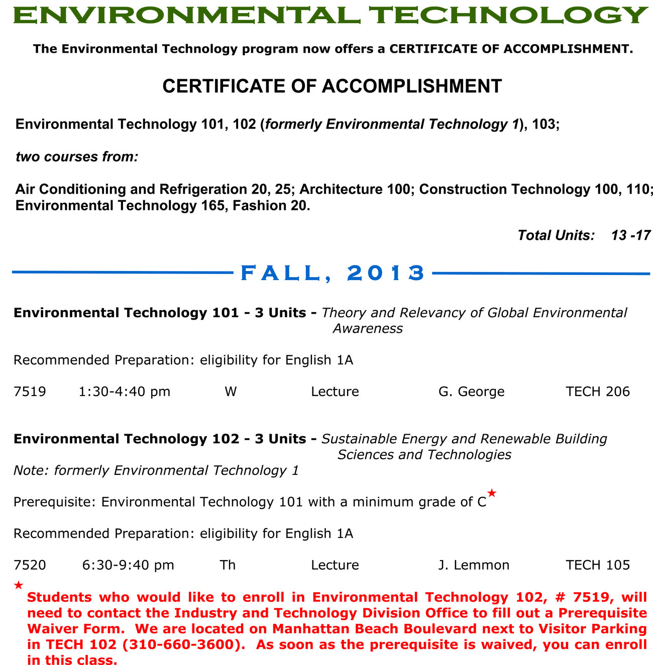 Environmental Technology Fall 2013