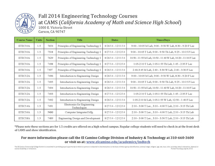Cosmetology requirements for tool machine technology subjects in el camino college