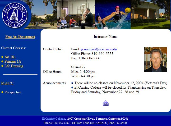 Faculty Web Page sample