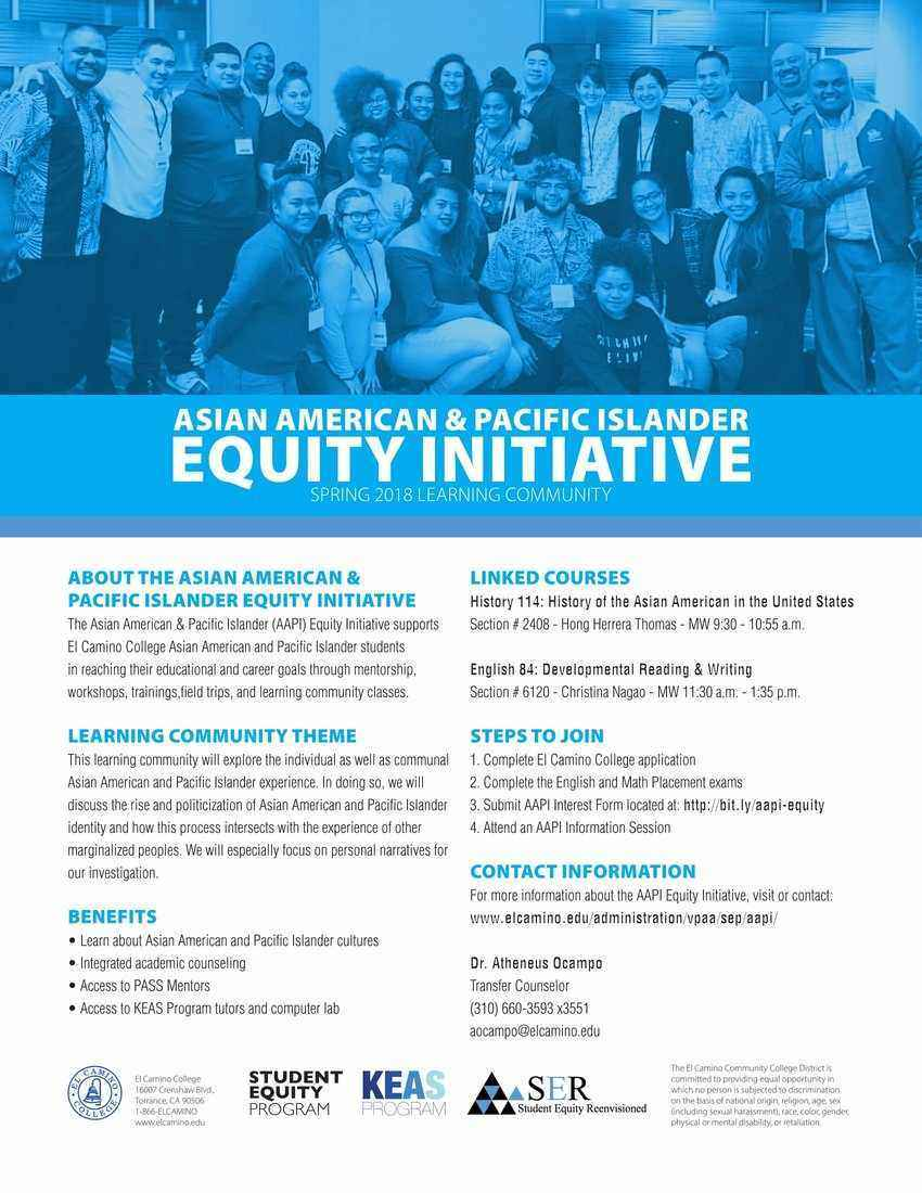 AAPI Equity Initiative Spring 2018