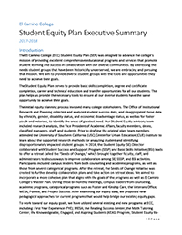 Student Equity Plan 2017 - 2018 Executive Summary