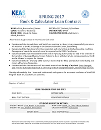 KEAS Program Book and Calculator Loan Contract