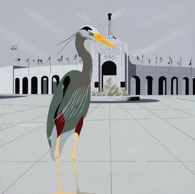 "Hilary Baker; Heron, Los Angeles Memorial Coliseum; acrylic on linen; 24"" x 24"""