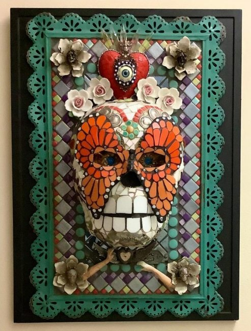 """Mary Clark-Carmargo; We Will Not Fade Away; glass mosaic and found object wall hanging; 17""""x 22½""""; 2020"""