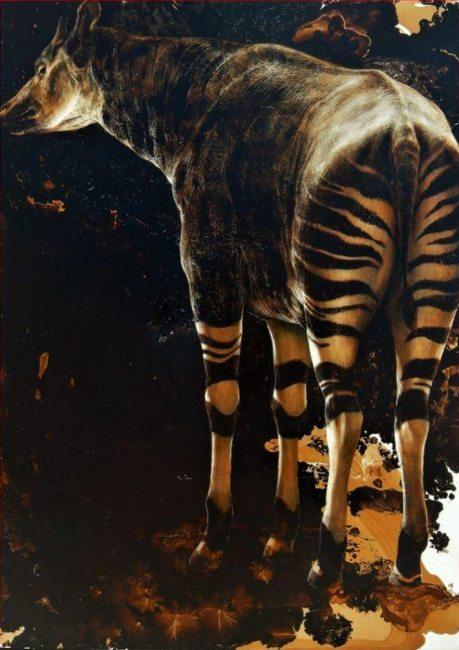 """James Griffith; Okapi; tar on canvas; 58"""" x 42""""; 2018"""