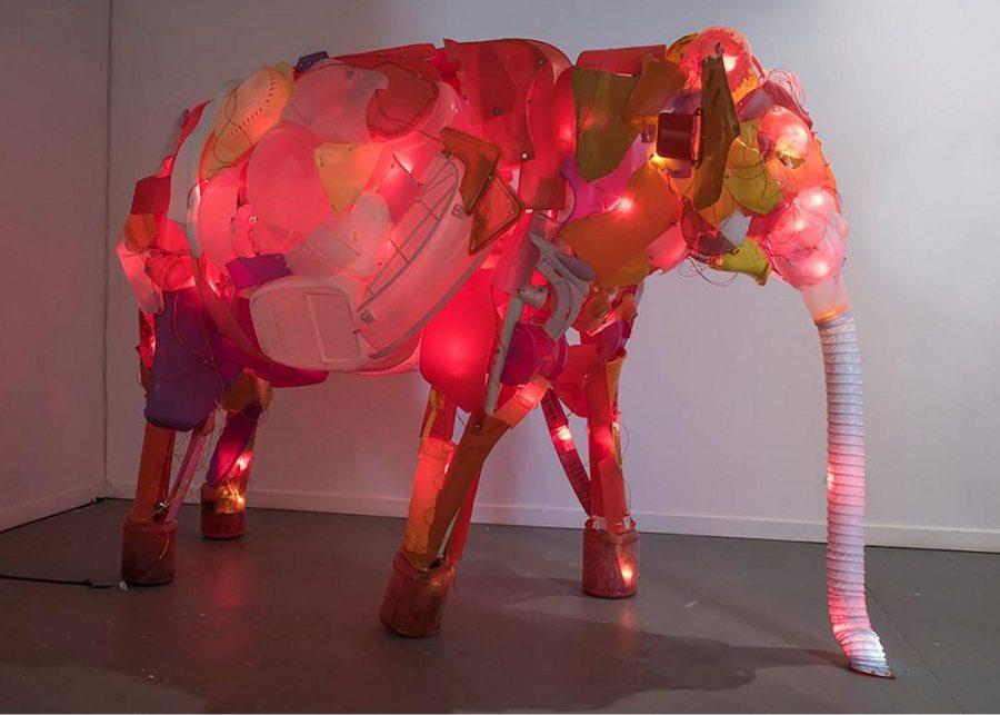"Cynthia Minet; Unsustainable Creatures: Elephant; post-consumer plastics, PVC, LEDs, hardware; 80"" x 115"" x 52""; 2013"
