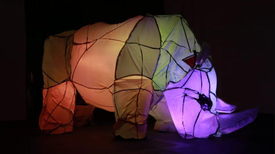 """Cynthia Minet; Seconds to Last; (inflatable) repurposed camping tents, sequenced LEDS, rope, lead weights, fan; Lighting Design: Vaughn Hannon; 60"""" x 120"""" x 64""""; 2021"""