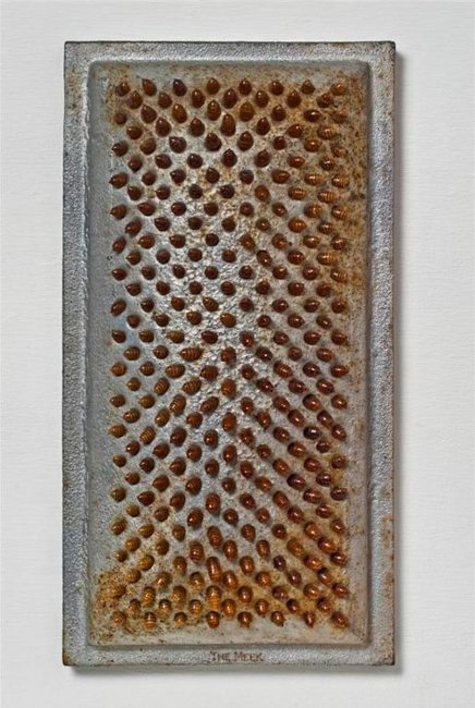 """Sarah Perry; The Meek; aluminum grate, altered shed cicada skin abdomens, silicone; 20½"""" x 11"""" x 3½""""; 2009"""