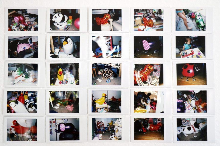 Satoe Fukushima; Helios' Animalis Installation Documentation; helium filled balloons, kids, parties, mess, instant films, blue tapes, measuring tape; 2021