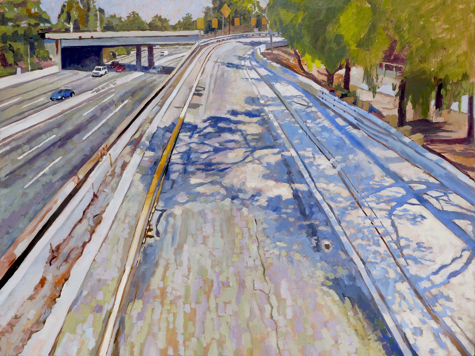 "Randall Bloomberg; Freeway Offramp; Oil on canvas; 36"" x 48"""