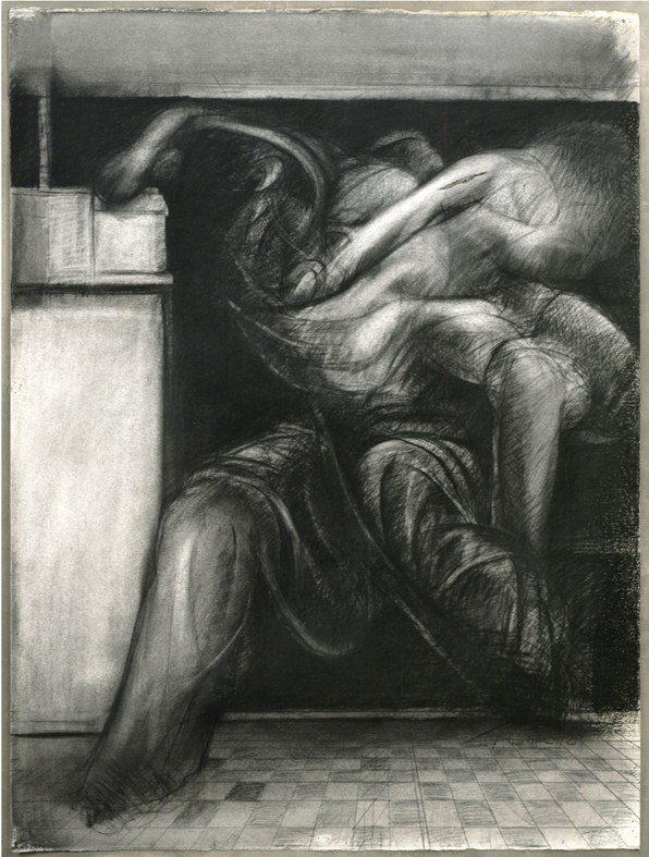 "Harrison Storms; Beyond the Wall #11; Charcoal on Paper; 48""x36.5"""