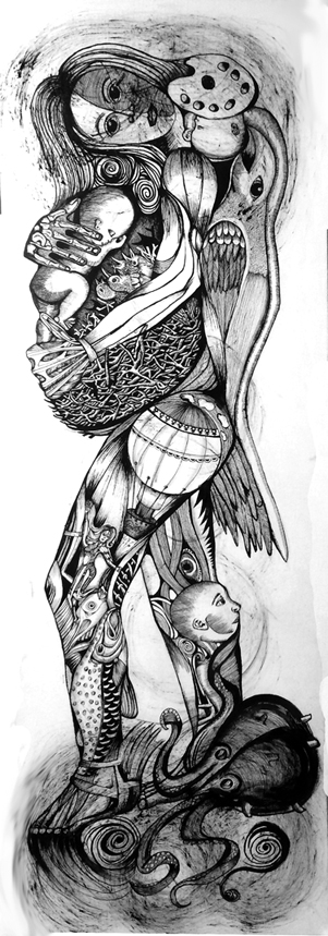 "Yvette Mangual; Madre; #2; Ink on paper; 60"" x 20"""