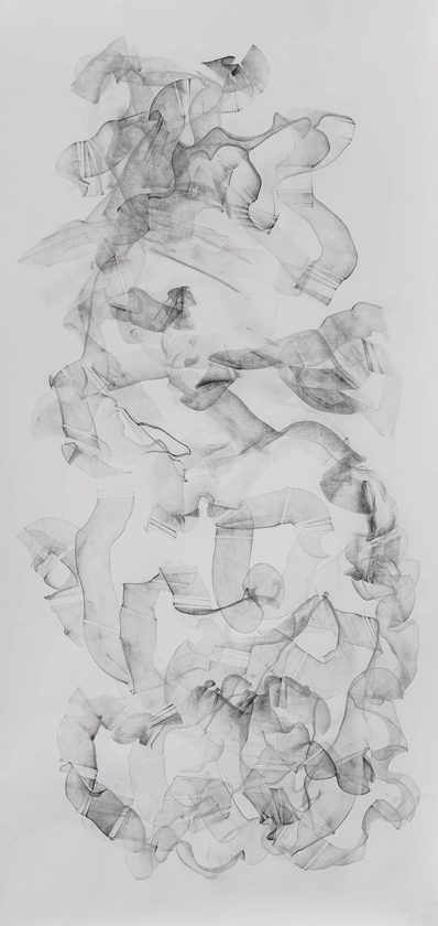 "Cheryl Walker; For Emile IV; graphite on paper; 108"" x 50"""
