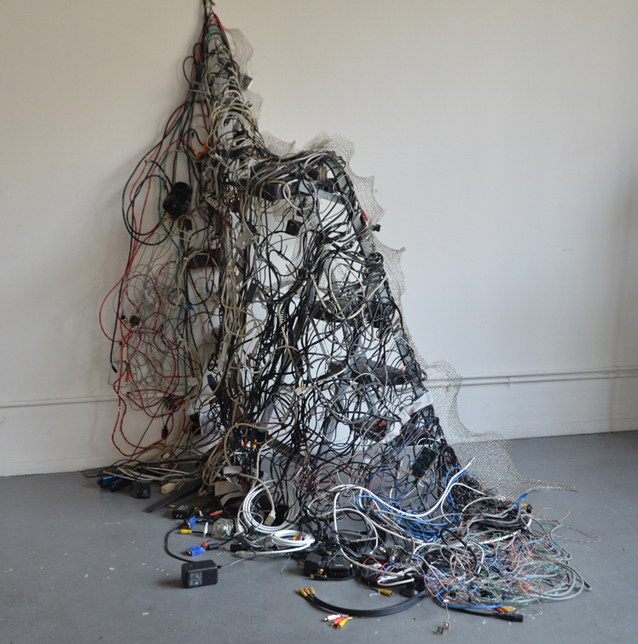 "Chenhung Chen; I Ching in America, Hexagram 35 Advancing; electrical wire and mixed media; 72' x 62"" x 68"""
