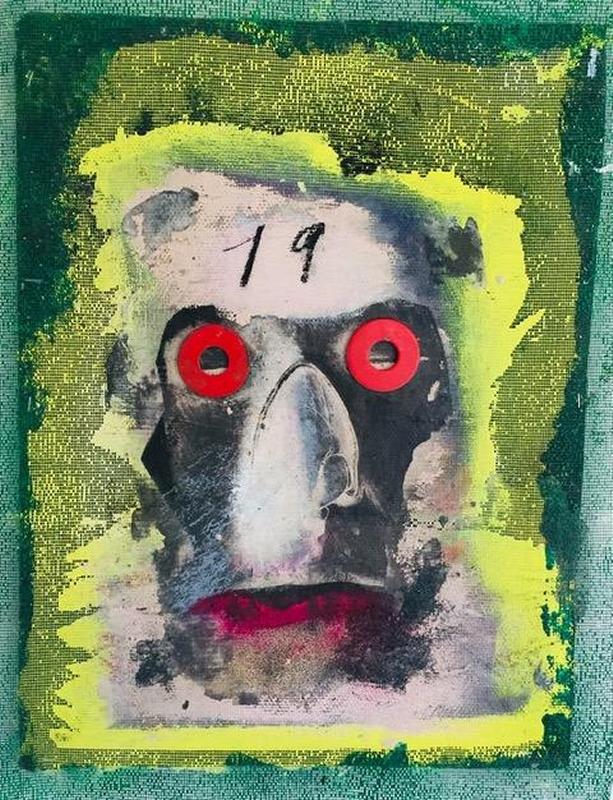 """Peter Liashkov; Mister Pandemiko 2020; Acrylic, oil, charcoal, print transfer, washers on fiberglass mesh; 23"""" x 18""""; 2020"""