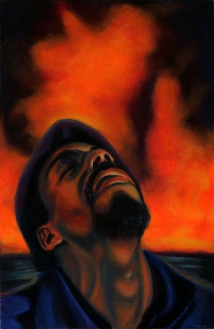 "Frank James Williams Self Portrait (fire) Pastel on paper 29"" x 19"""