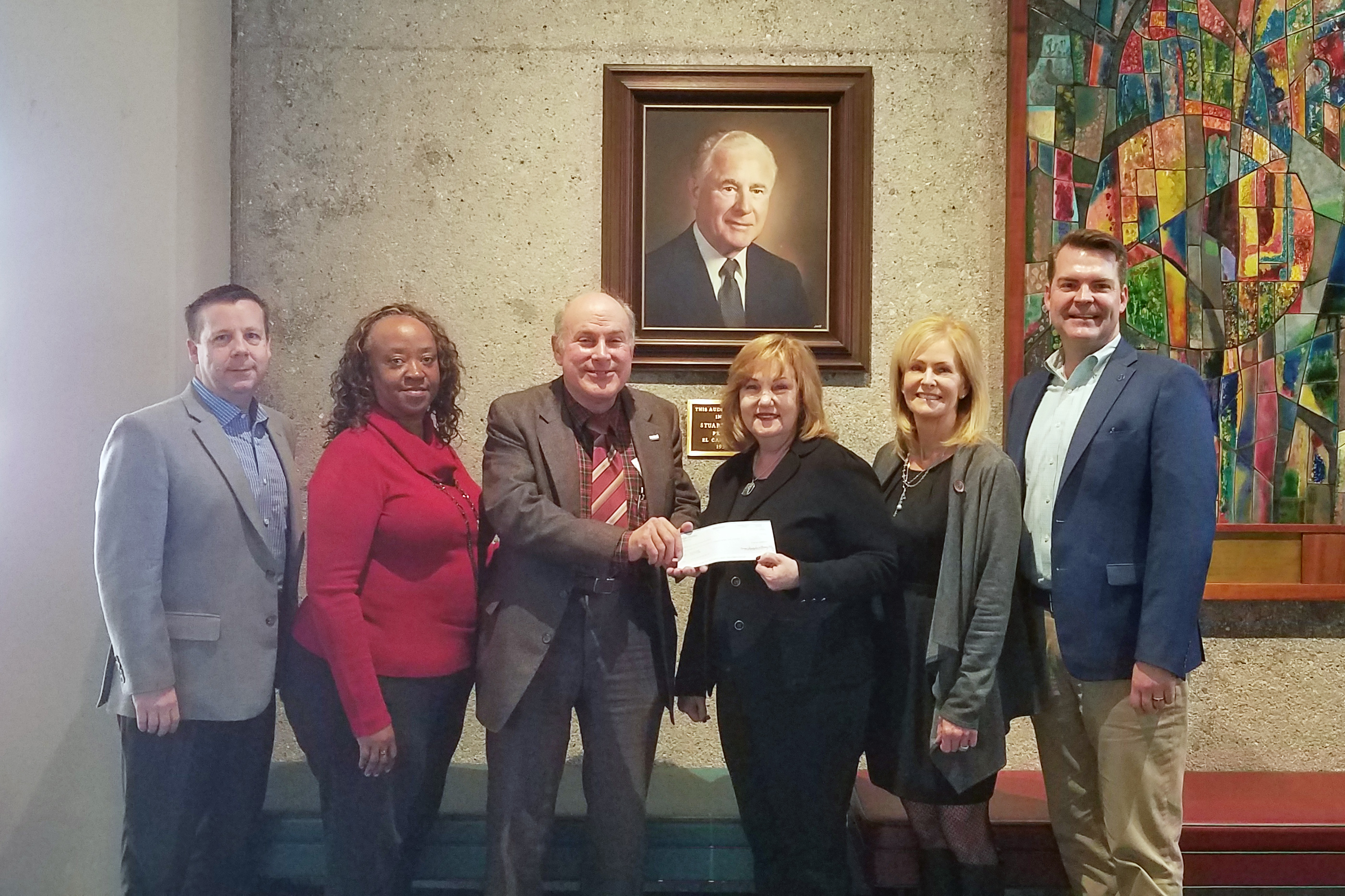 Jim Olds (center) presenting a gift of over $179,000 to El Camino College Superintendent/President Dr. Dena Maloney for the benefit of the El Camino College Center for the Arts. The gift was given from his parents' Charitable Remainder Trust.