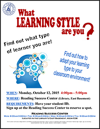 Reading Success Center Learning Styles Flyer Fall 2015