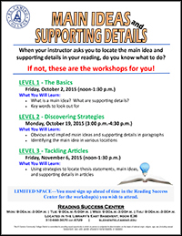 Reading Success Center Main Ideas and Supporting Details flyer