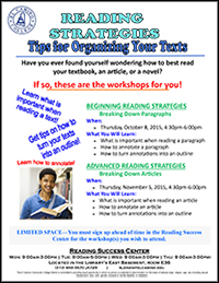 Reading Success Center Reading Strategies Fall 2015