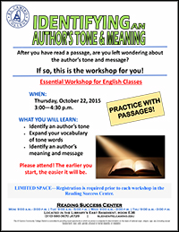 Reading Success Center Author Flyer Fall 2015