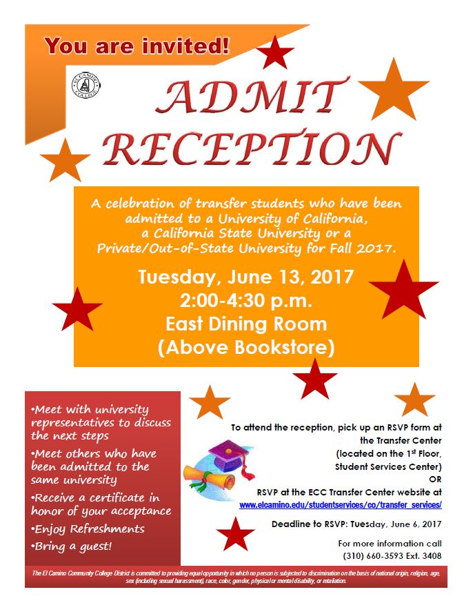 Admit Reception flyer