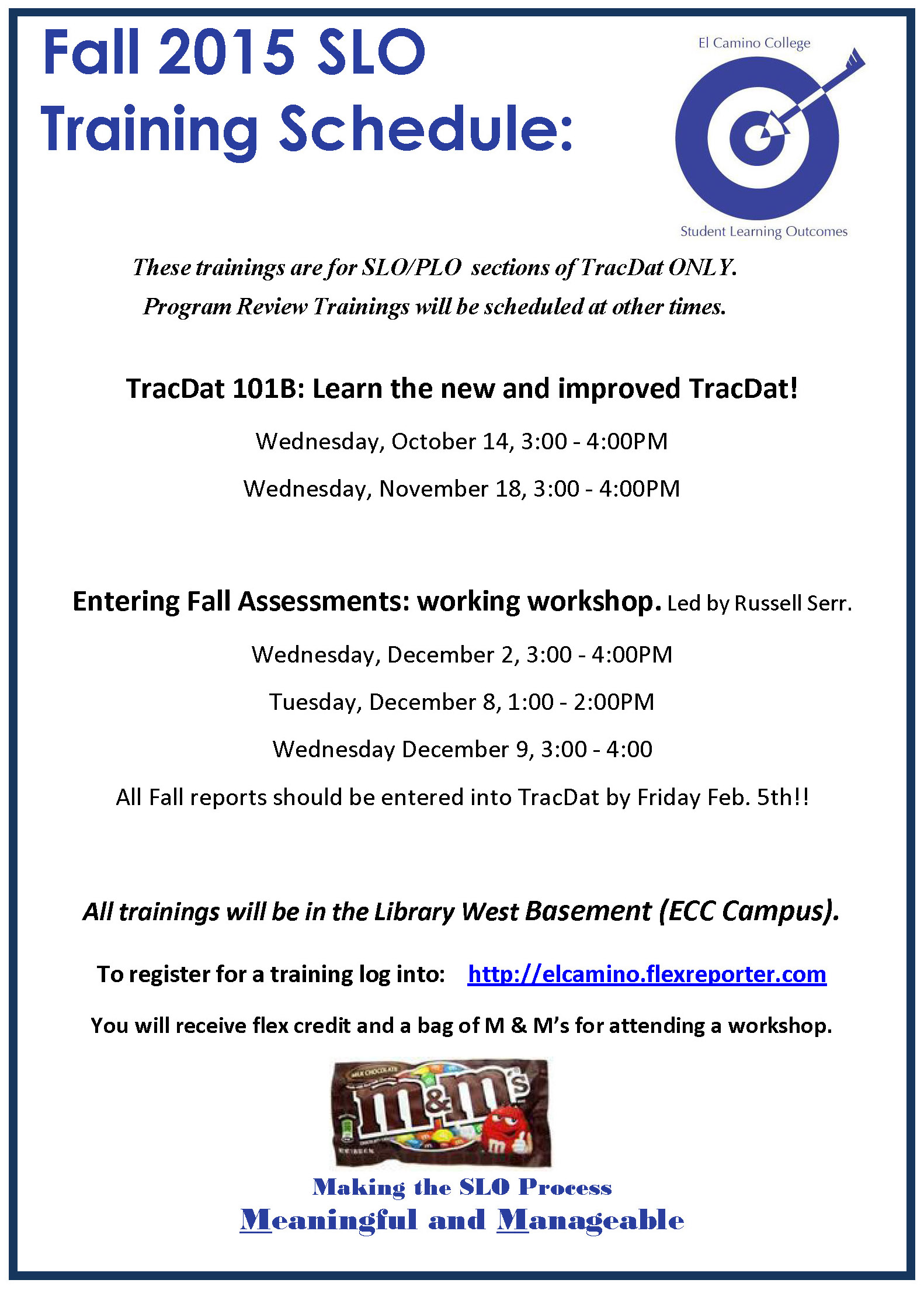 Revised Fall 2015 SLO Workshops