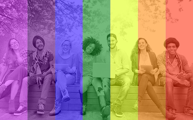 Diverse students with a rainbow