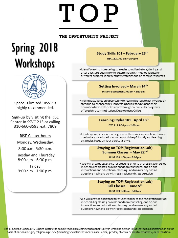 TOP Spring 2018 Workshop