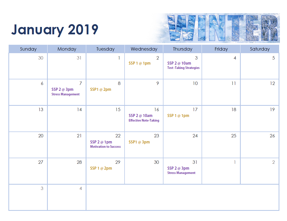Winter 19 Workshop Schedule