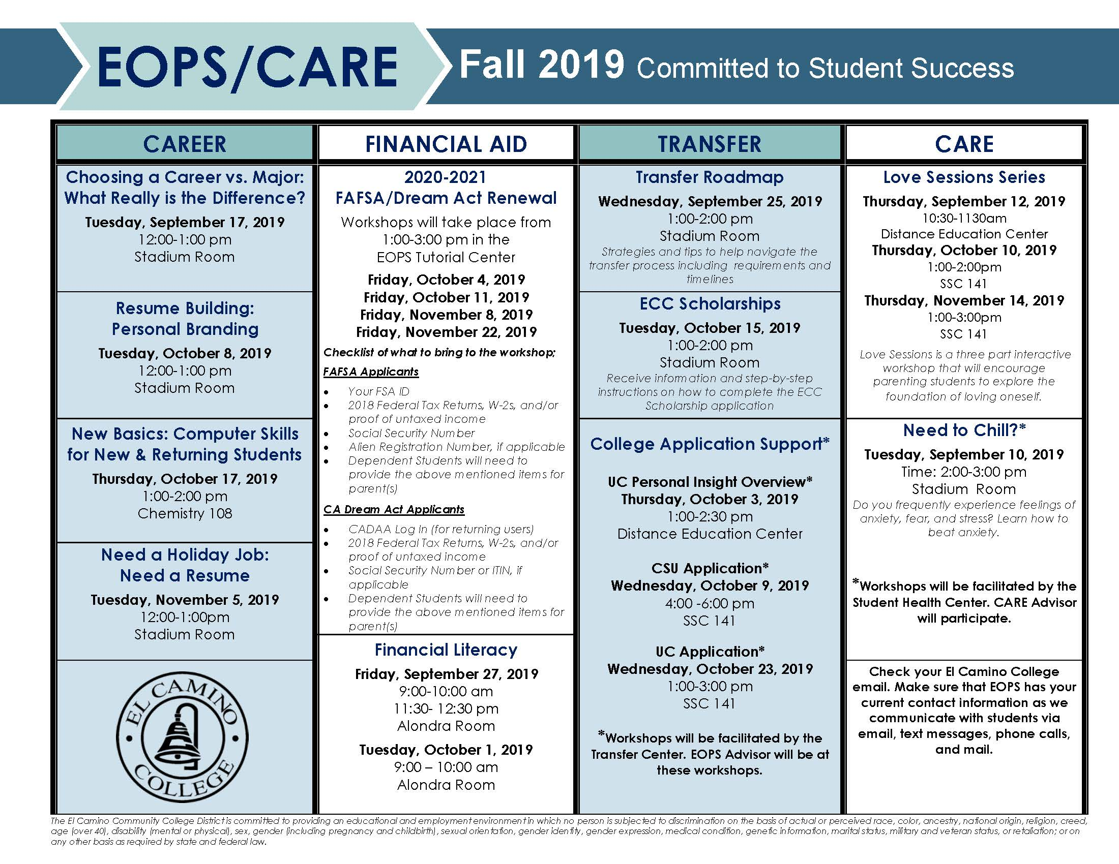 Fall 2019 Workshops