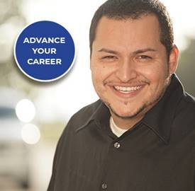 Grocery employee seeking retail management certificates with text that says advance your career