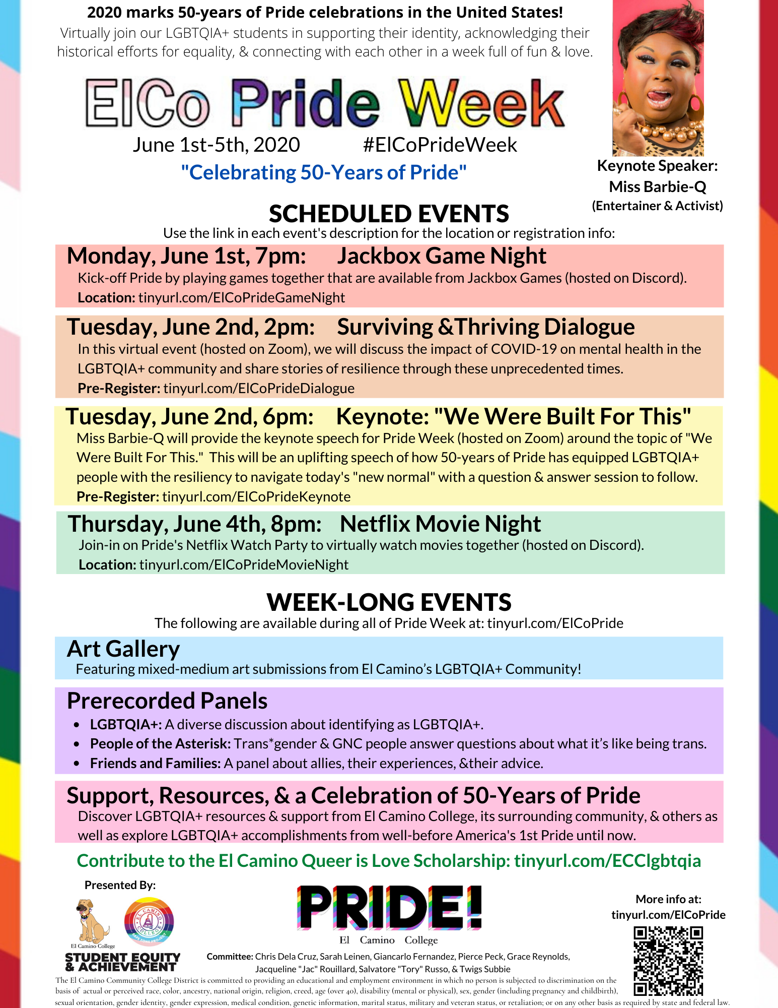 ElCo Pride Week 2020 Calendar of Events