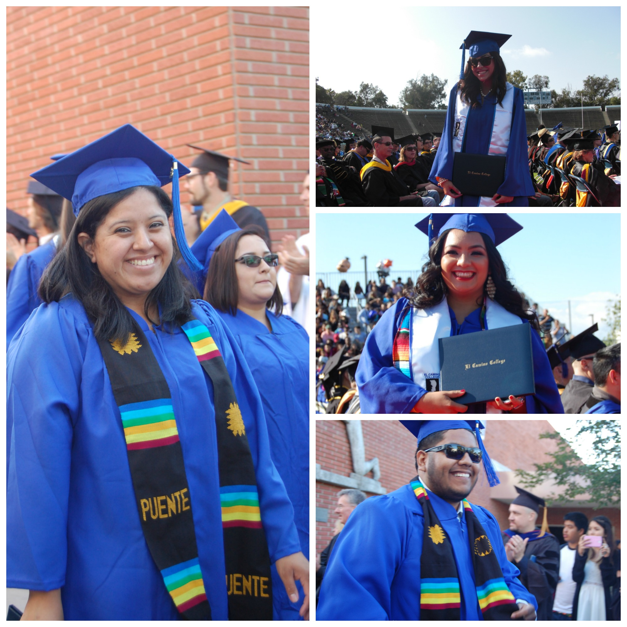 group of images showing puente students at graduation ceremony