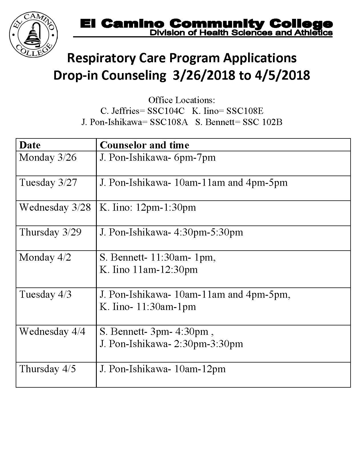 Respiratory Care Application Spring 2018 Counseling Hours