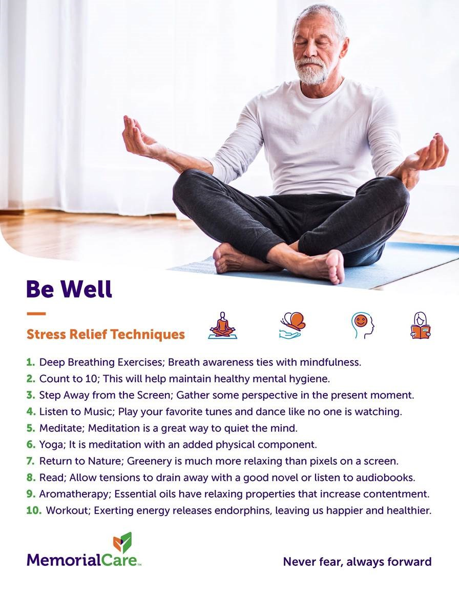 man meditating and list of stress relieving tips