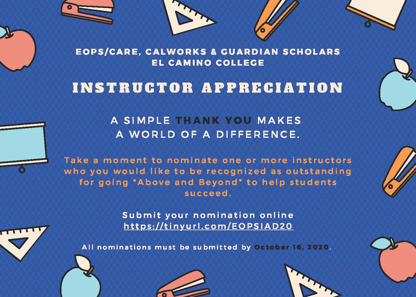 Instructor Appreciation Nominations